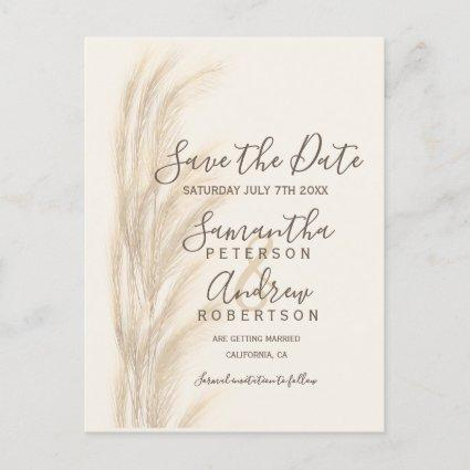 Boho summer pampas grass watercolor save the date announcement