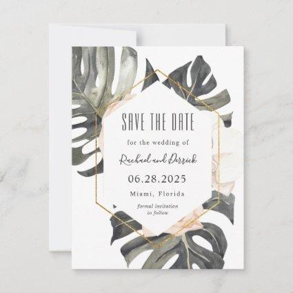 Boho Tropical Wedding Save the Date with Photo