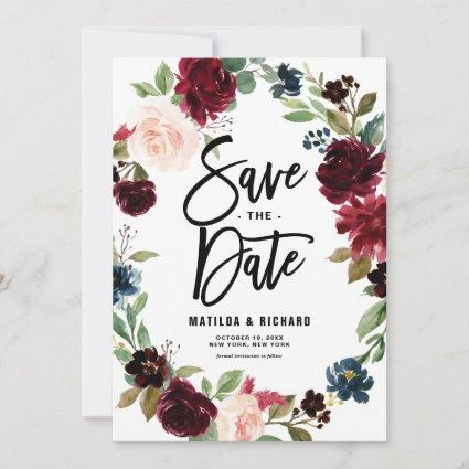 Boho Watercolor Autumn Floral Wreath Save The Date
