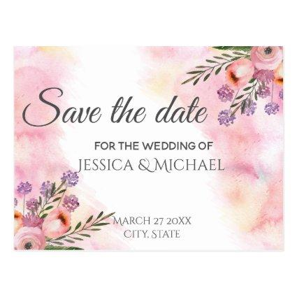 Boho watercolor floral bouquet  save the date Cards