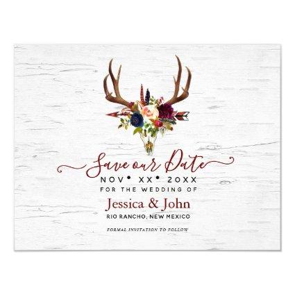 Boho Watercolor Flowers Skull Arrow Save our Date Invitation