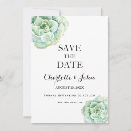 boho watercolor succulent wedding save the dates save the date