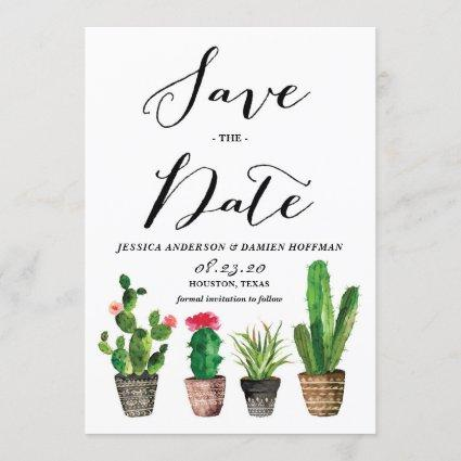 Boho Watercolor Succulents Photo Save the Date