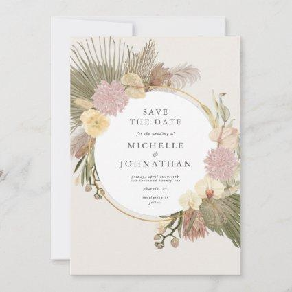 Boho Wedding Pampas Grass Palm Orchid Save The Dat Save The Date