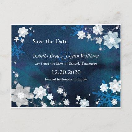 Boho Winter Floral Navy Blue Wedding Save the Date Announcement