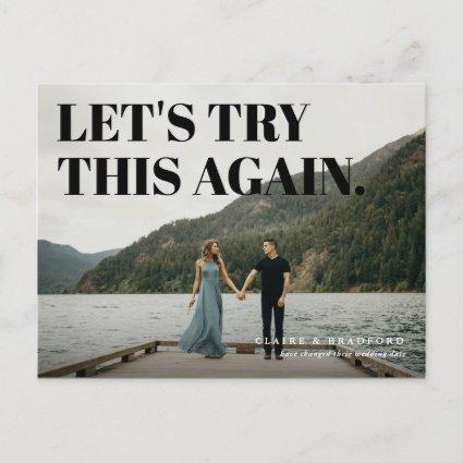Bold and Cheeky Typographic Save a New Date Announcement