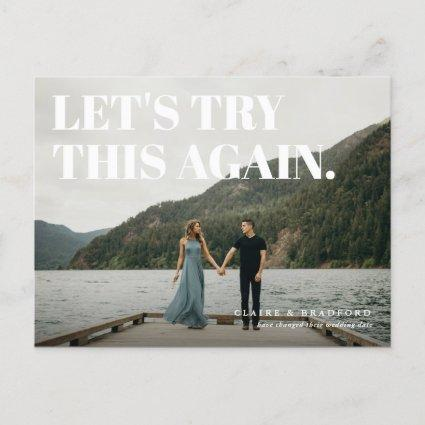 Bold and Cheeky Typographic Save the New Date Announcement