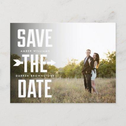 Bold Arrow Photo Modern Type Save the Date Announcement