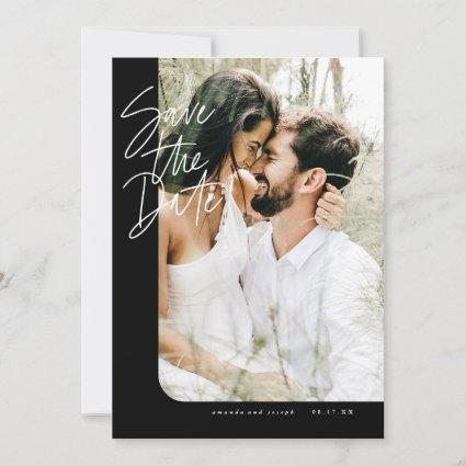 Bold Black Modern Rounded Edge Frame Photo Save The Date