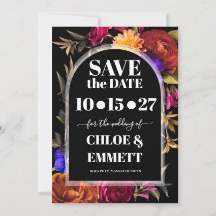 Bold Boho Trendy Autumn Floral Save The Date