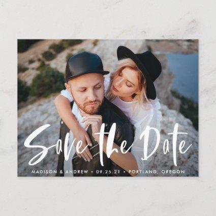 Bold Brush Script Overlay Photo Save the Date Announcement