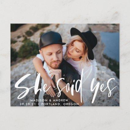 Bold Brush Script She Said Yes Photo Save the Date Announcement