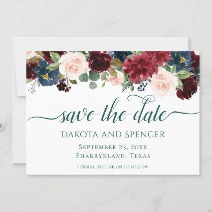 Bold Floral | Botanical Garden Watercolor Garland Save The Date