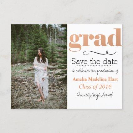 Bold Grad Typography | Save The Date Photo Announcements Cards