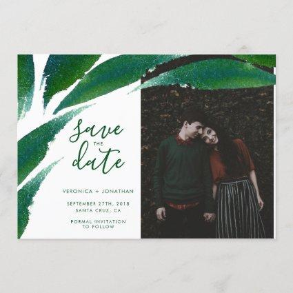 Bold Green Leaves | Botanical Photo Save The Date