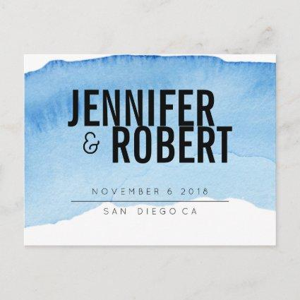 Bold Minimal BLUE watercolor BLACK SAVE THE DATE Announcement