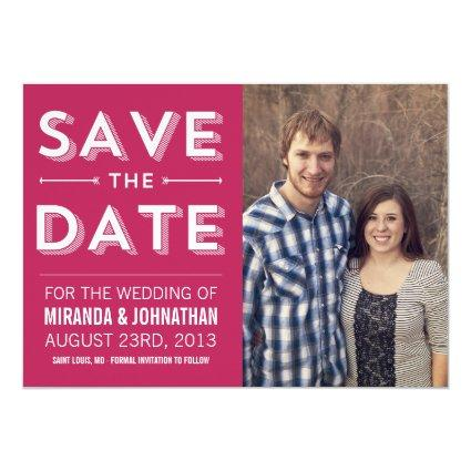 Bold Pink Chic Photo Save The Date Announcements