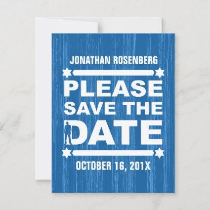 Bold Type Bar Mitzvah Save the Date in Blue