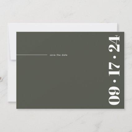 Bold Typography Minimalist Modern Olive Green Save The Date