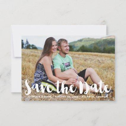 Bold White Hand Lettering Photo Save the Date