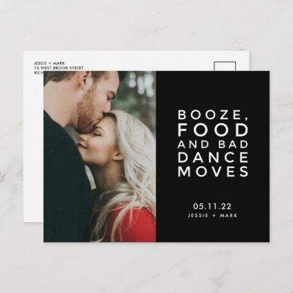 Booze, Food, Bad Dance Moves Photo Save the Dates Announcement