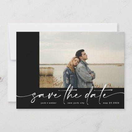 Bordered | Modern Simple Black Photo Ice White Save The Date