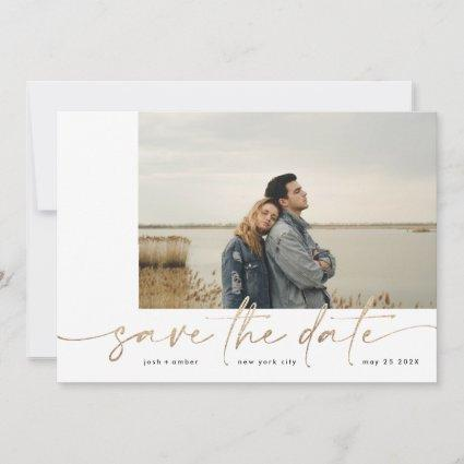 Bordered   Modern Simple White Photo Gold Foil Save The Date