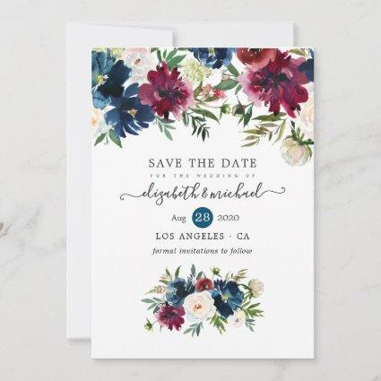 Bordo and Navy Watercolor Floral Save The Date