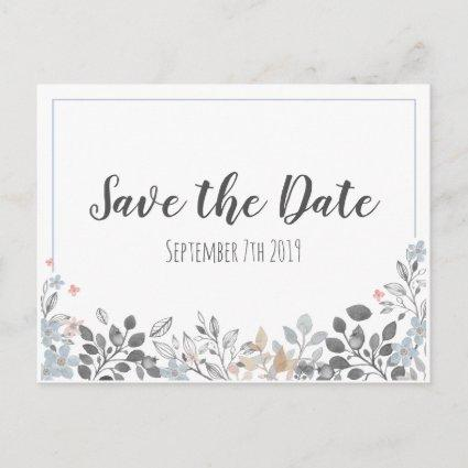 Botanical Blue Save The Date Wedding Cards