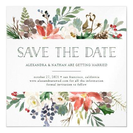 Botanical Christmas | Floral Holiday Save the Date Magnetic Invitation