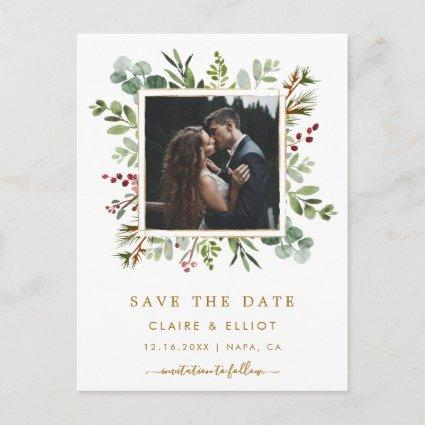 Botanical Christmas Wedding Photo Save the Date Announcement