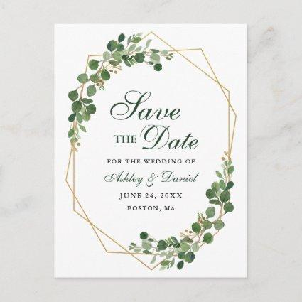 Botanical Eucalyptus Green Gold Save the Date Announcement