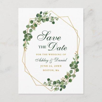 Botanical Eucalyptus Green Save the Date Gold Announcement