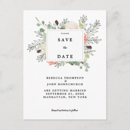 botanical floral wedding save the date card