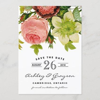 Botanical Flowers Save the Date Announcement