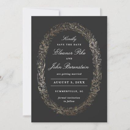 Botanical Frame Faux Gold Foil Wreath Typographic Save The Date