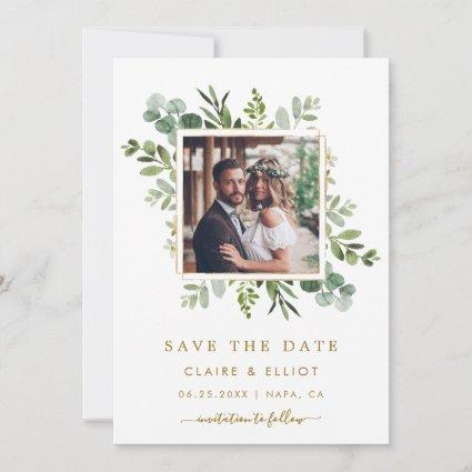 Botanical Gold Green Wedding Photo Save the Date
