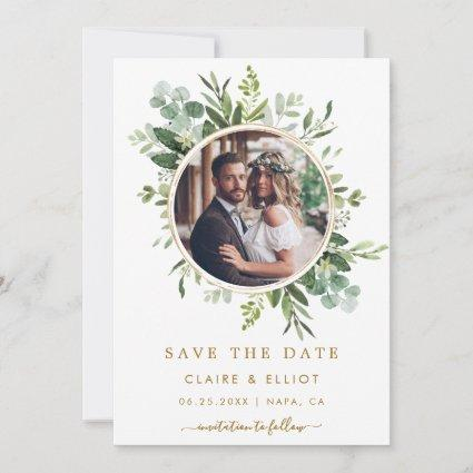 Botanical Gold Green Wreath Wedding Photo Save The Date