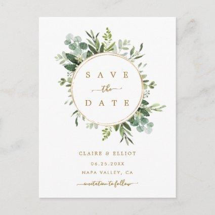 Botanical Gold Greenery Wedding Save the Date Announcement
