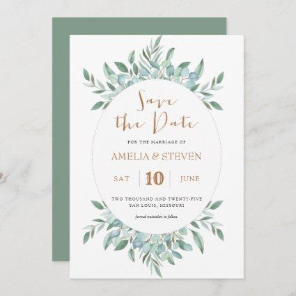 Botanical watercolor foliage save the date card