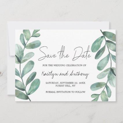 Botanical Watercolor Greenery Eucalyptus Save The Date