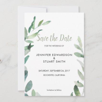Botanical watercolor olive leaves Save the Date