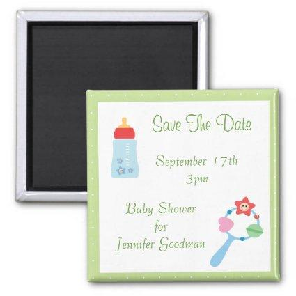 Bottle & Rattle Save The Date Baby Shower Magnet