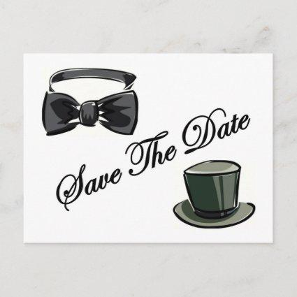 Bow Tie and Top Hat Save The Date Announcement