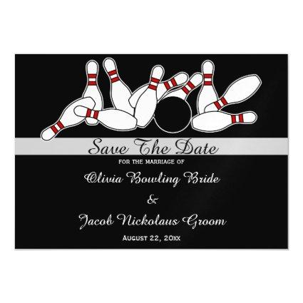 Bowler Bowling Pins Sports Wedding Save The Date Magnetic Invitation