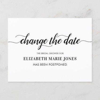 Bridal Shower Change the Date Elegant Typography Announcement