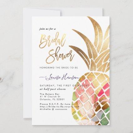 Bridal Shower, Faux Gold Watercolor Pineapple Save The Date
