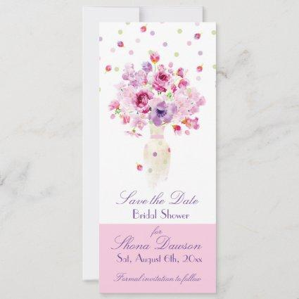 Bridal Shower, Petals Falling Over Vase of Flowers Save The Date