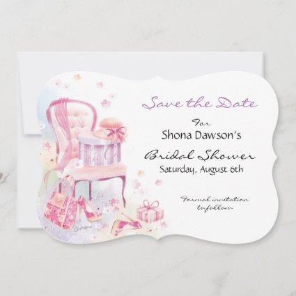 Bridal Shower, Watercolour Hat Box on Chair Save The Date