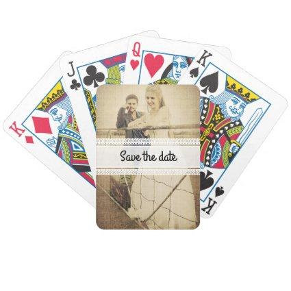 Bride and groom bicycle playing cards